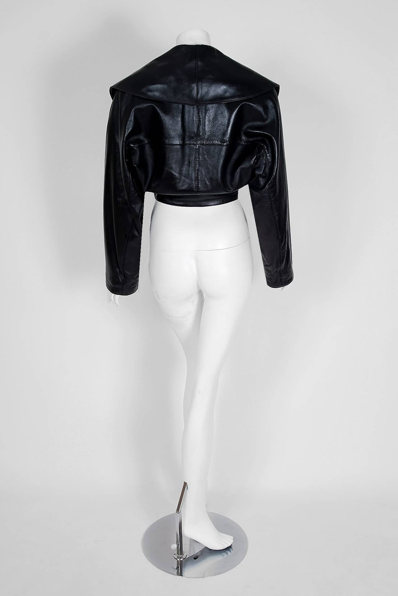1990's Azzedine Alaia Black Leather Portrait Shawl Collar Plunge Cropped Jacket 4