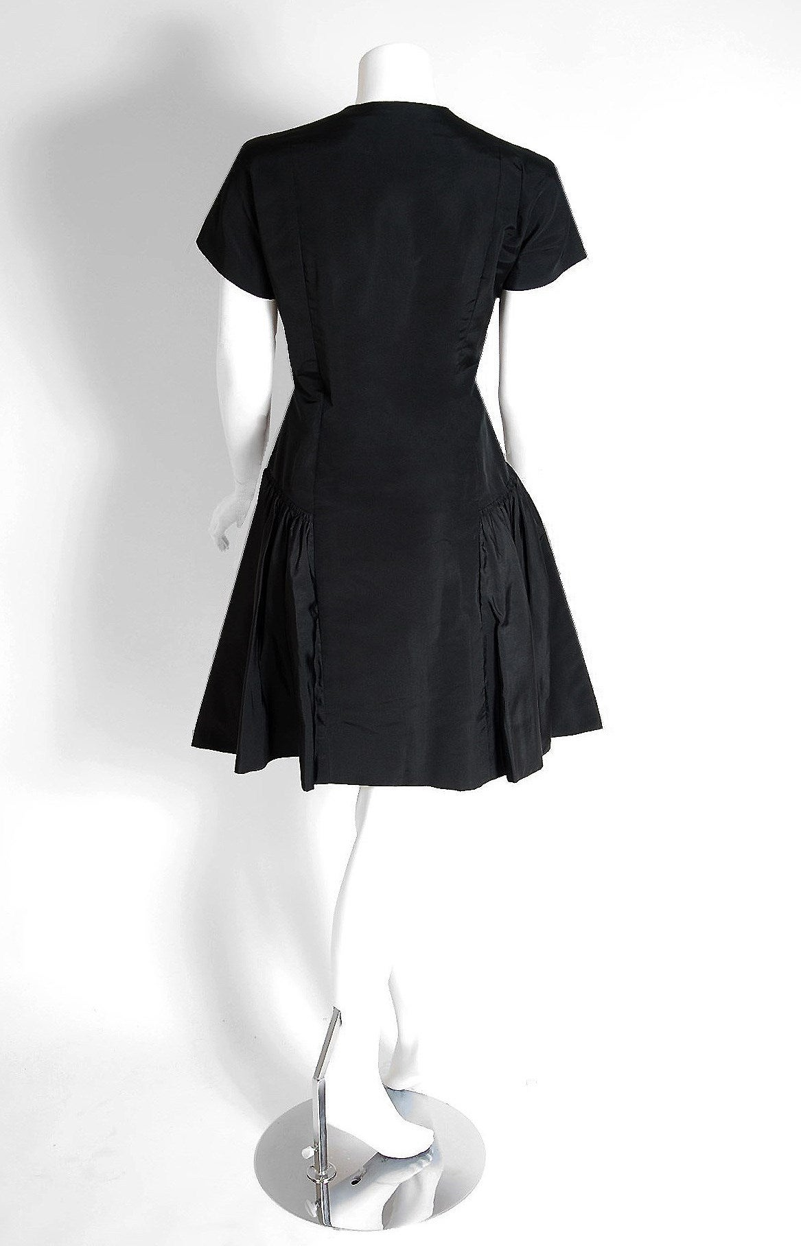 1950's Pauline Trigere Black Silk Rhinestone Sculpted Pockets Full Party Dress 4