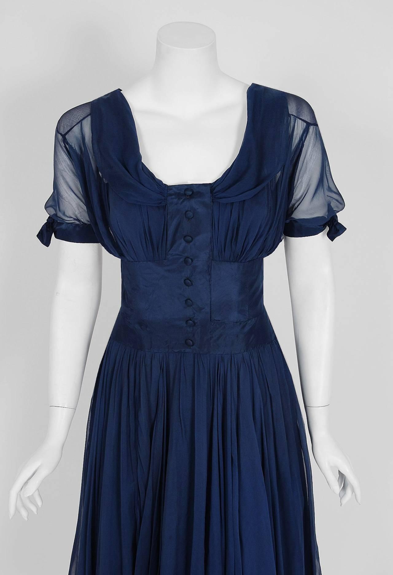 1955 Jean Desses Haute-Couture Sculpted Navy Blue Silk Shelf-Bust Party Dress 3
