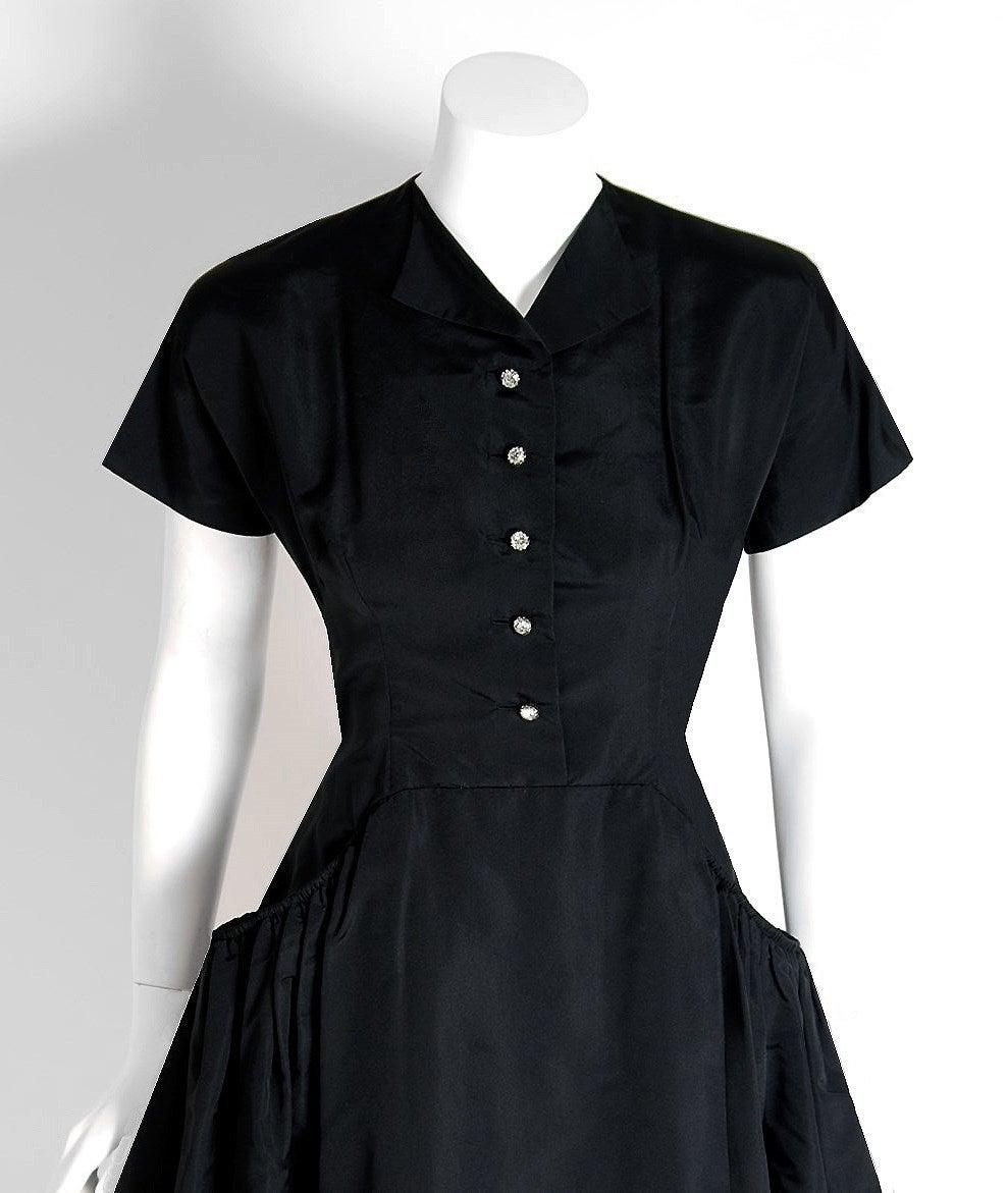 1950's Pauline Trigere Black Silk Rhinestone Sculpted Pockets Full Party Dress 2