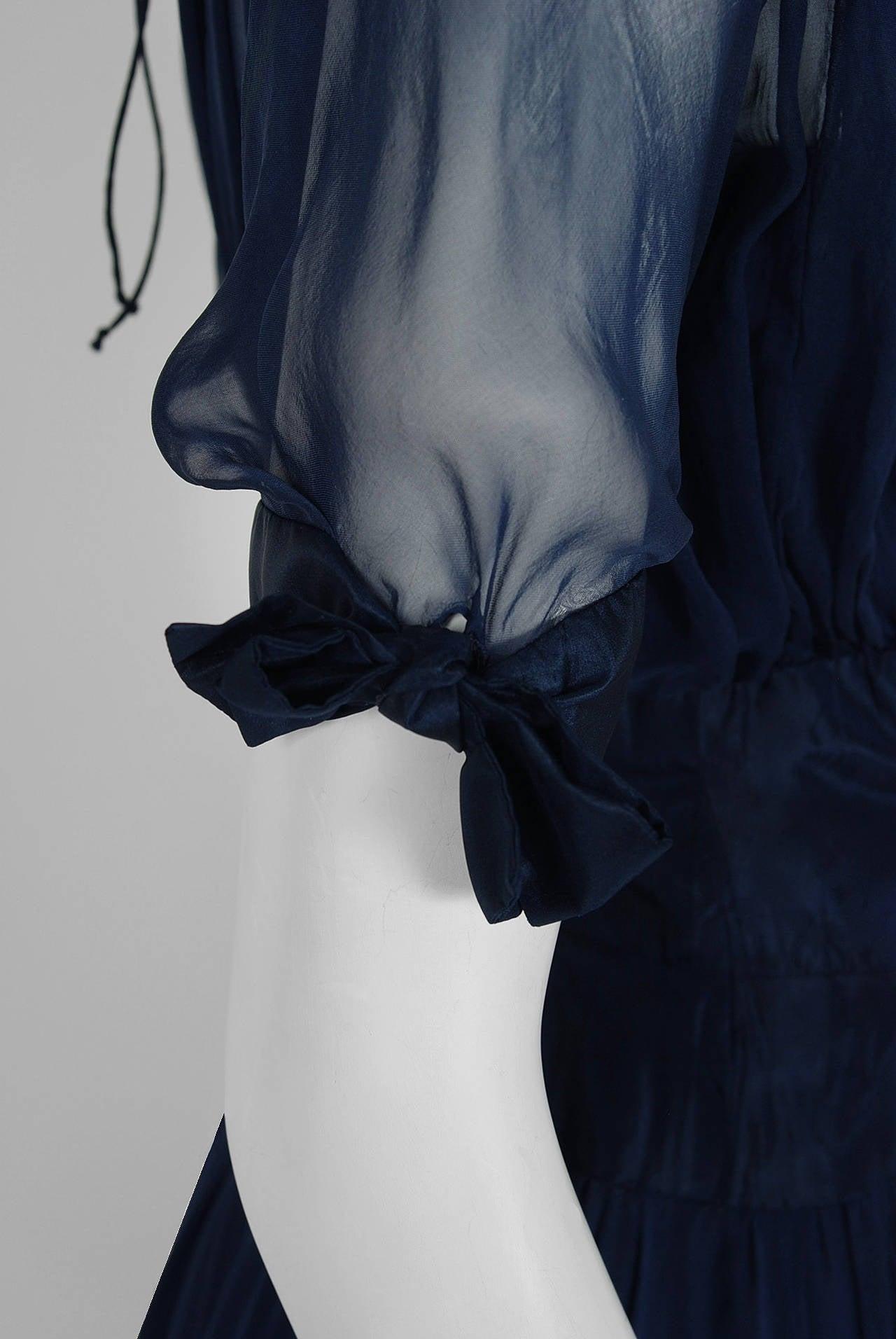 1955 Jean Desses Haute-Couture Sculpted Navy Blue Silk Shelf-Bust Party Dress 4
