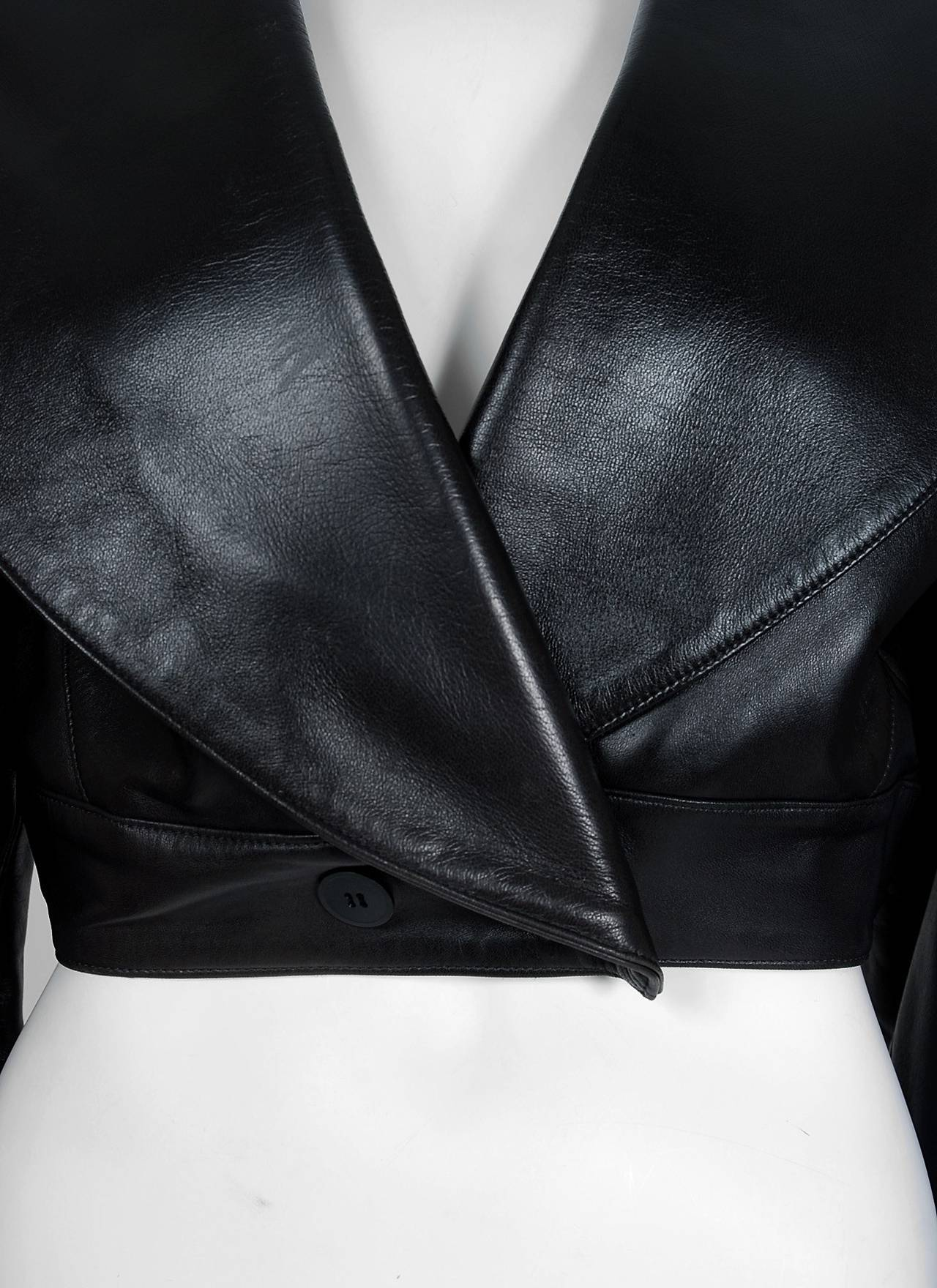 1990's Azzedine Alaia Black Leather Portrait Shawl Collar Plunge Cropped Jacket 3