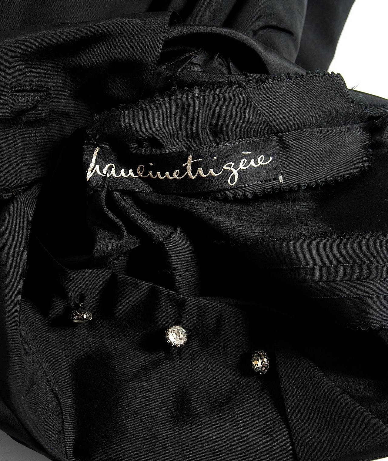 1950's Pauline Trigere Black Silk Rhinestone Sculpted Pockets Full Party Dress For Sale 1