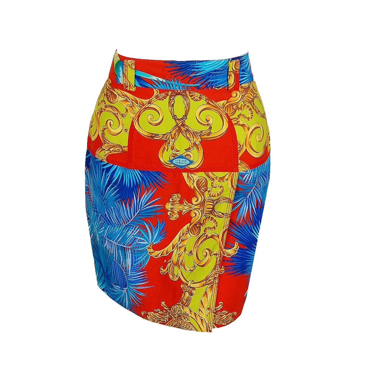 1990's Gianni Versace Couture Baroque Novelty Palm-Trees Print Mini Skirt 1
