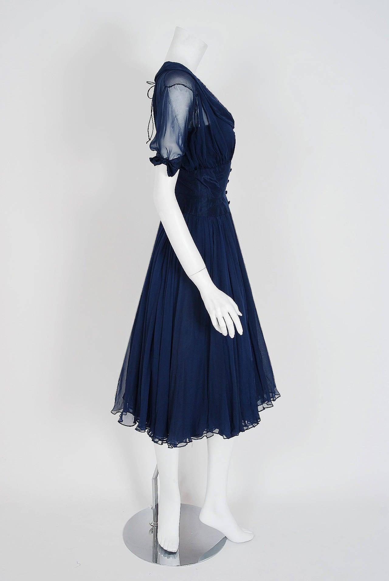 1955 Jean Desses Haute-Couture Sculpted Navy Blue Silk Shelf-Bust Party Dress 5