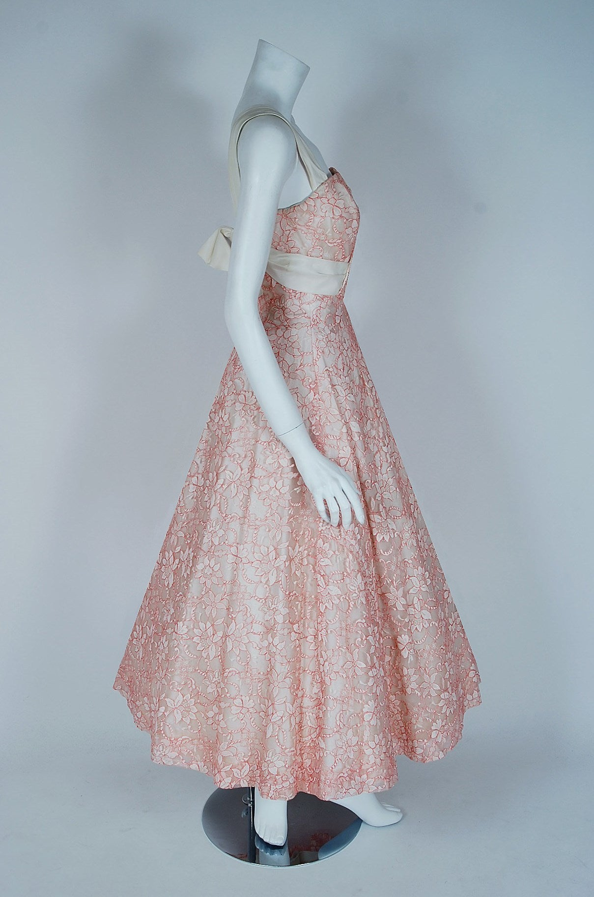 1955 Jacques Heim Haute-Couture Pink White Lace One-Shoulder Full ...