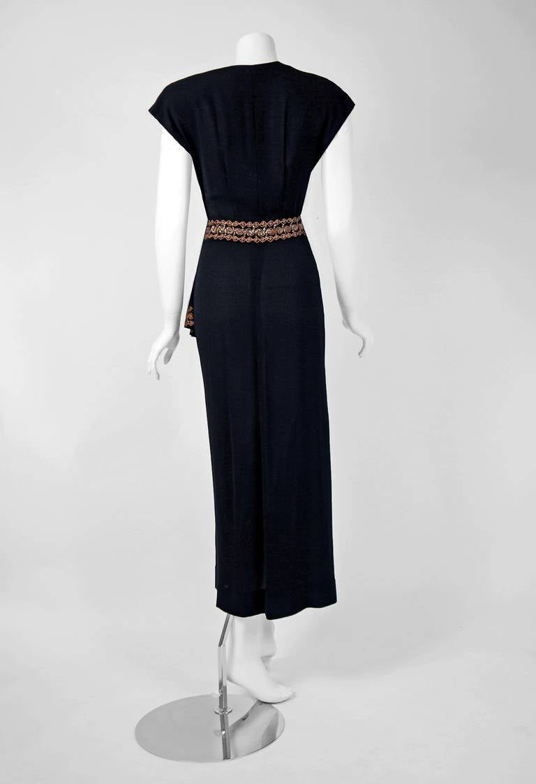 1930's Metallic-Gold Sequin Embroidered Black Rayon Cut-Out Deco Evening Gown 5