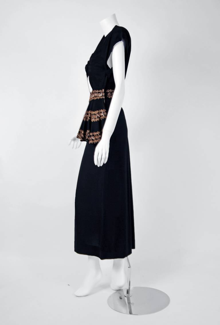 1930's Metallic-Gold Sequin Embroidered Black Rayon Cut-Out Deco Evening Gown 4