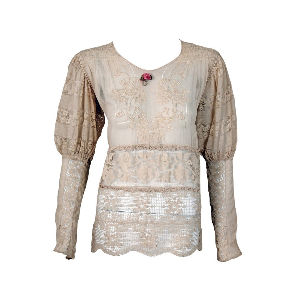 1920's Embroidered Ecru Mixed-Lace Crochet Sheer Puff-Sleeve Bohemian Blouse 1