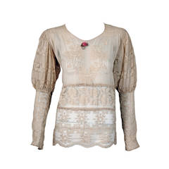 1920's Embroidered Ecru Mixed Lace Crochet Sheer Puff-Sleeve Bohemian Blouse
