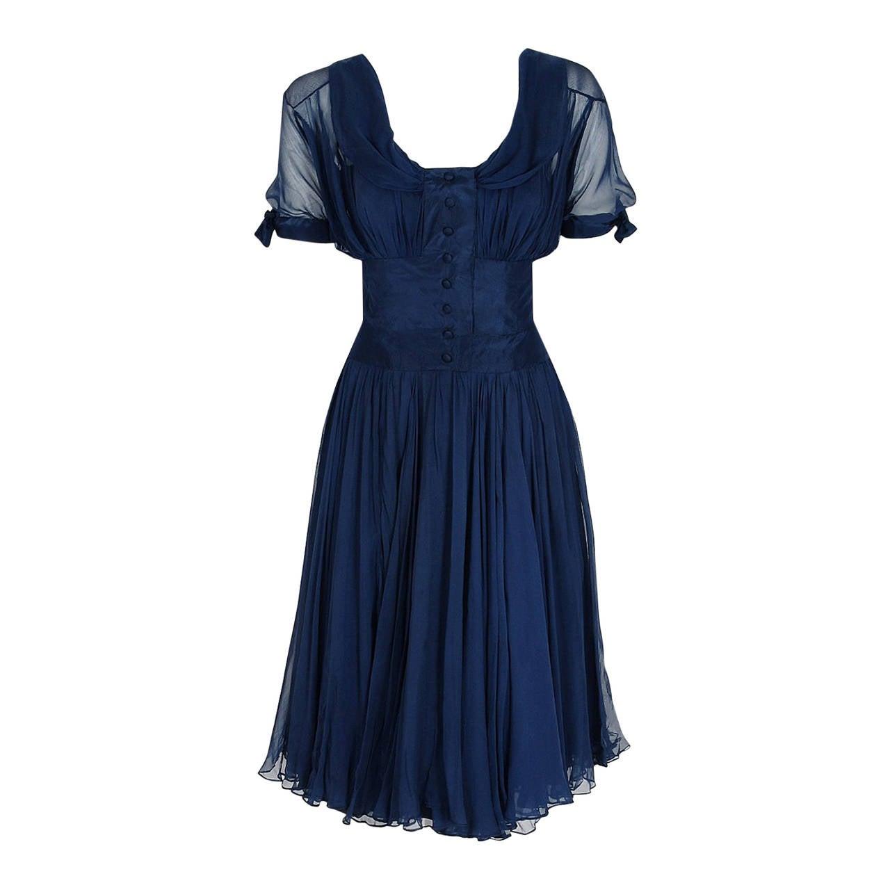 Jean Desses Haute Couture Sculpted Navy Blue Silk Chiffon Shelf-Bust Dress, 1955