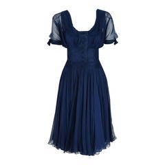1955 Jean Desses Haute Couture Navy Blue Silk Chiffon Shelf-Bust Sculpted Dress