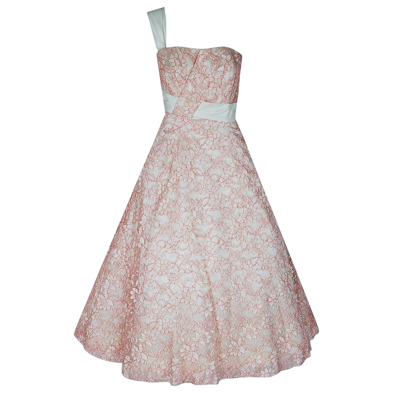 1950's Jacques Heim Haute-Couture Pink White Lace One-Shoulder Full Party Dress 1