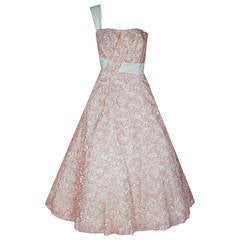 1950's Jacques Heim Haute-Couture Pink White Lace One-Shoulder Full Party Dress