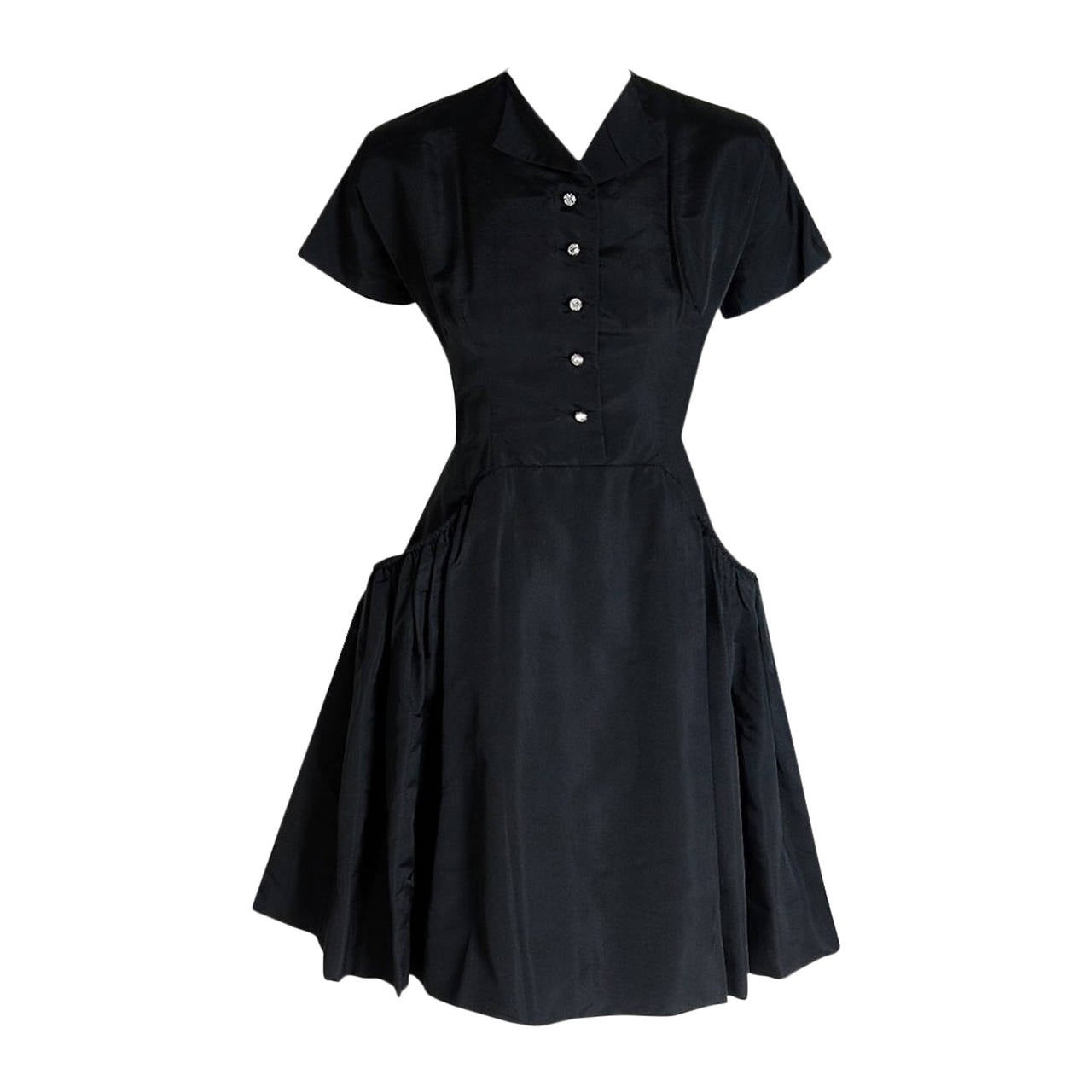1950's Pauline Trigere Black Silk Rhinestone Sculpted Pockets Full Party Dress For Sale