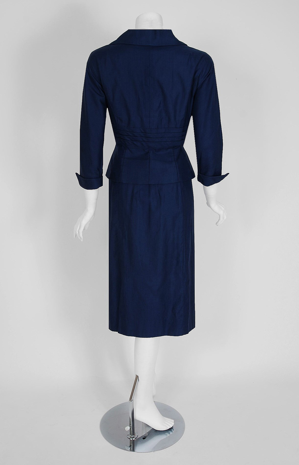 1940's Don Loper Navy-Blue Silk Tailored Hourglass Noir Pencil-Skirt Suit 4