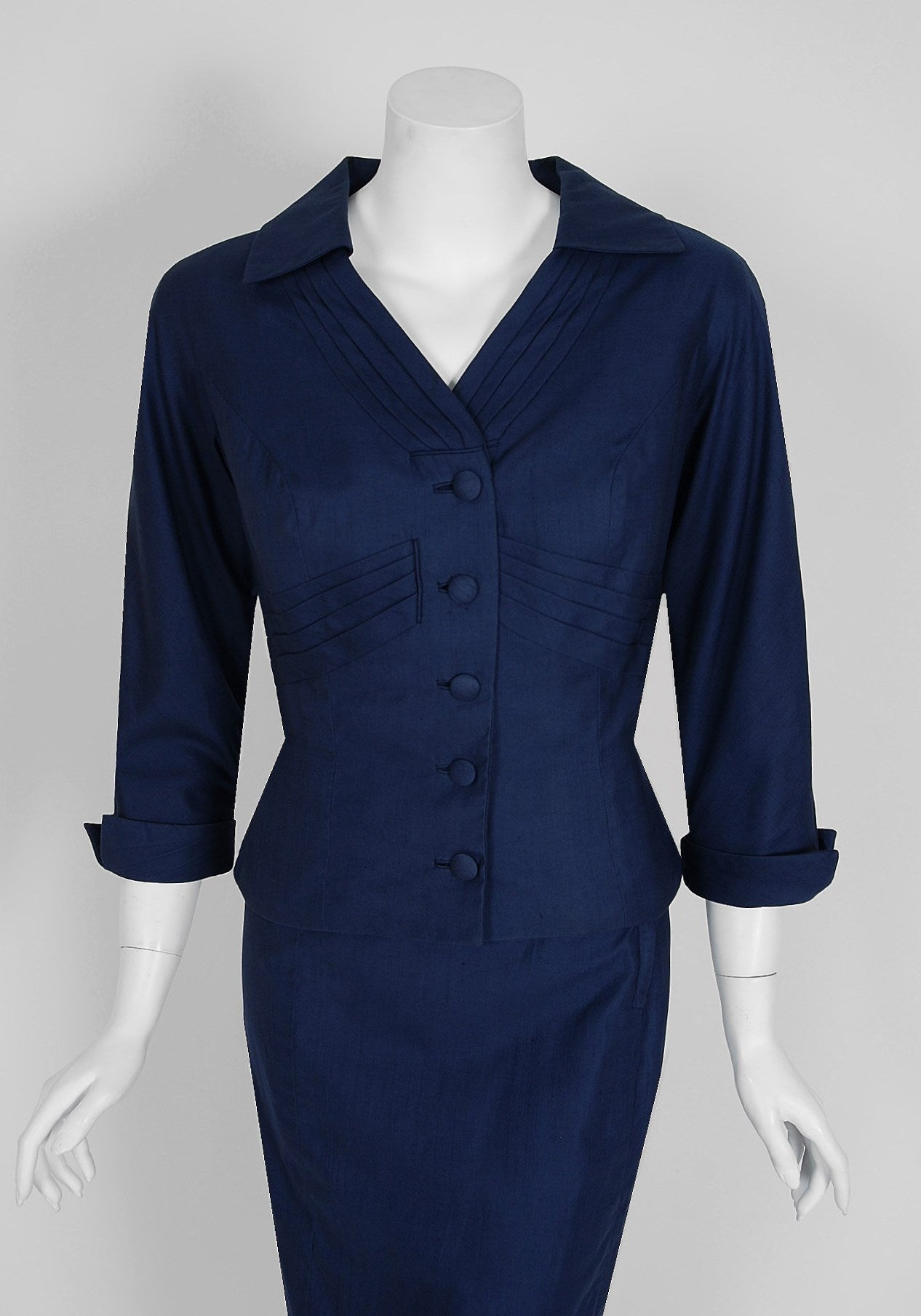 1940's Don Loper Navy-Blue Silk Tailored Hourglass Noir Pencil-Skirt Suit 2