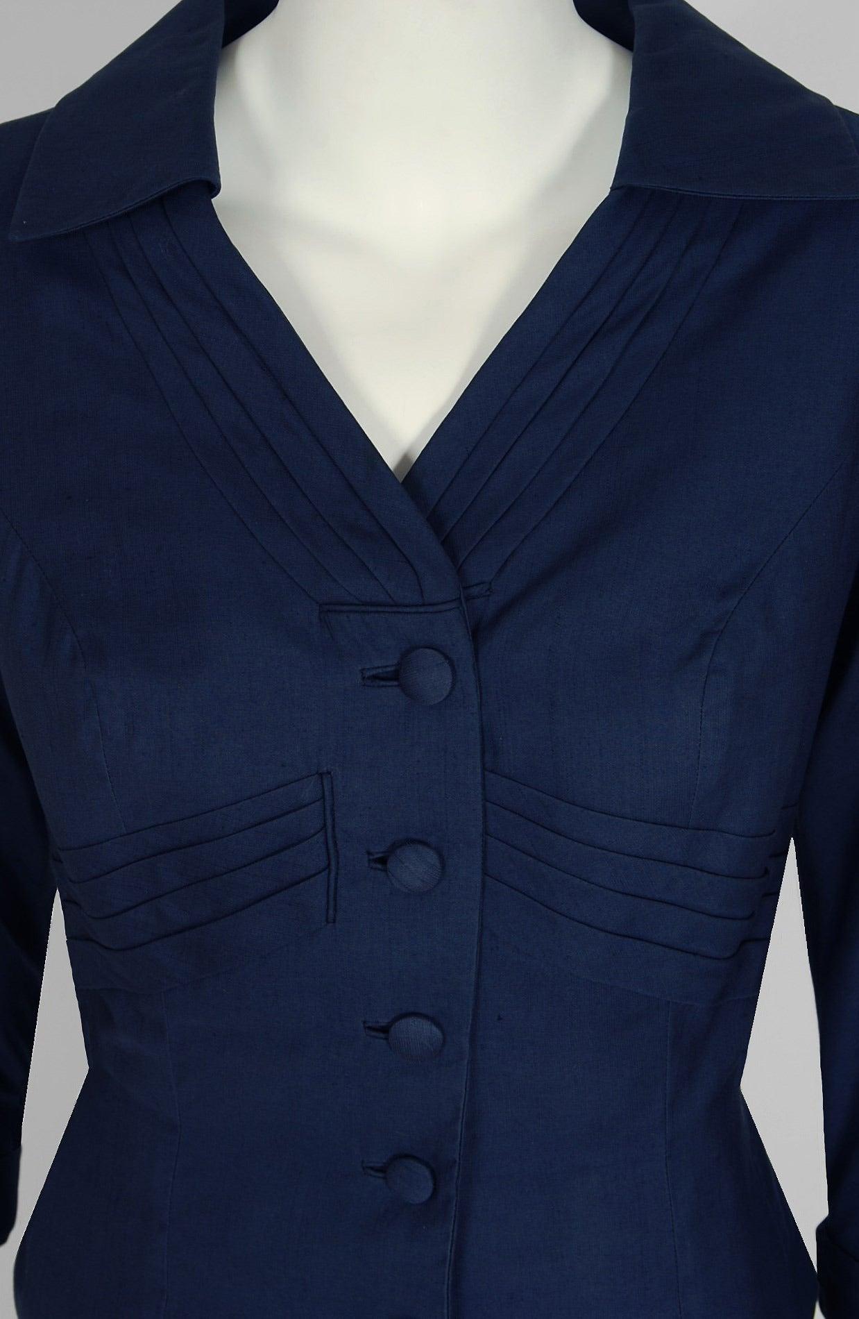 1940's Don Loper Navy-Blue Silk Tailored Hourglass Noir Pencil-Skirt Suit 3