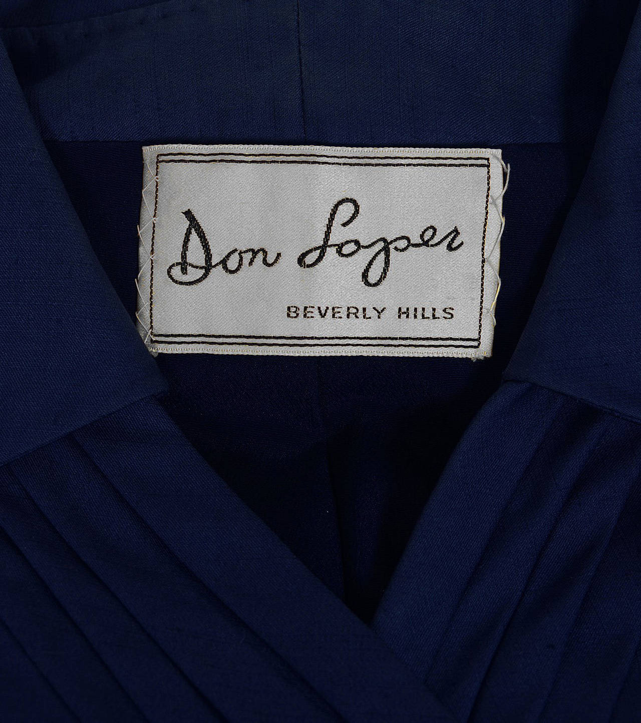 1940's Don Loper Navy-Blue Silk Tailored Hourglass Noir Pencil-Skirt Suit 5