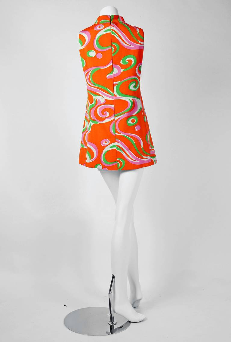 1960's Pierre Cardin Psychedelic Cotton-Twill Circle Cut-Outs Mod Tunic Dress 4