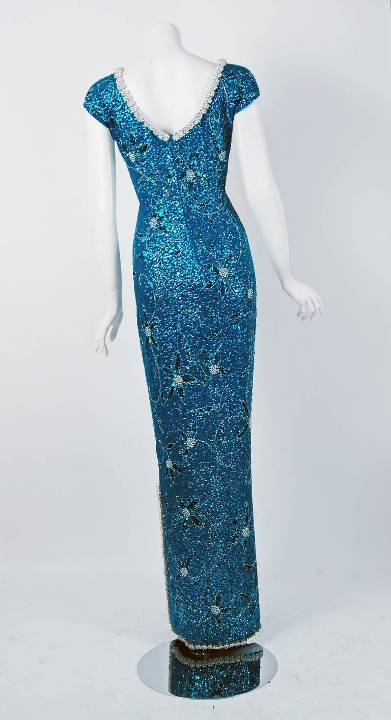 1950's Gene Shelly Beaded Sequin Royal-Blue Wool Knit Hourglass Evening Gown 5