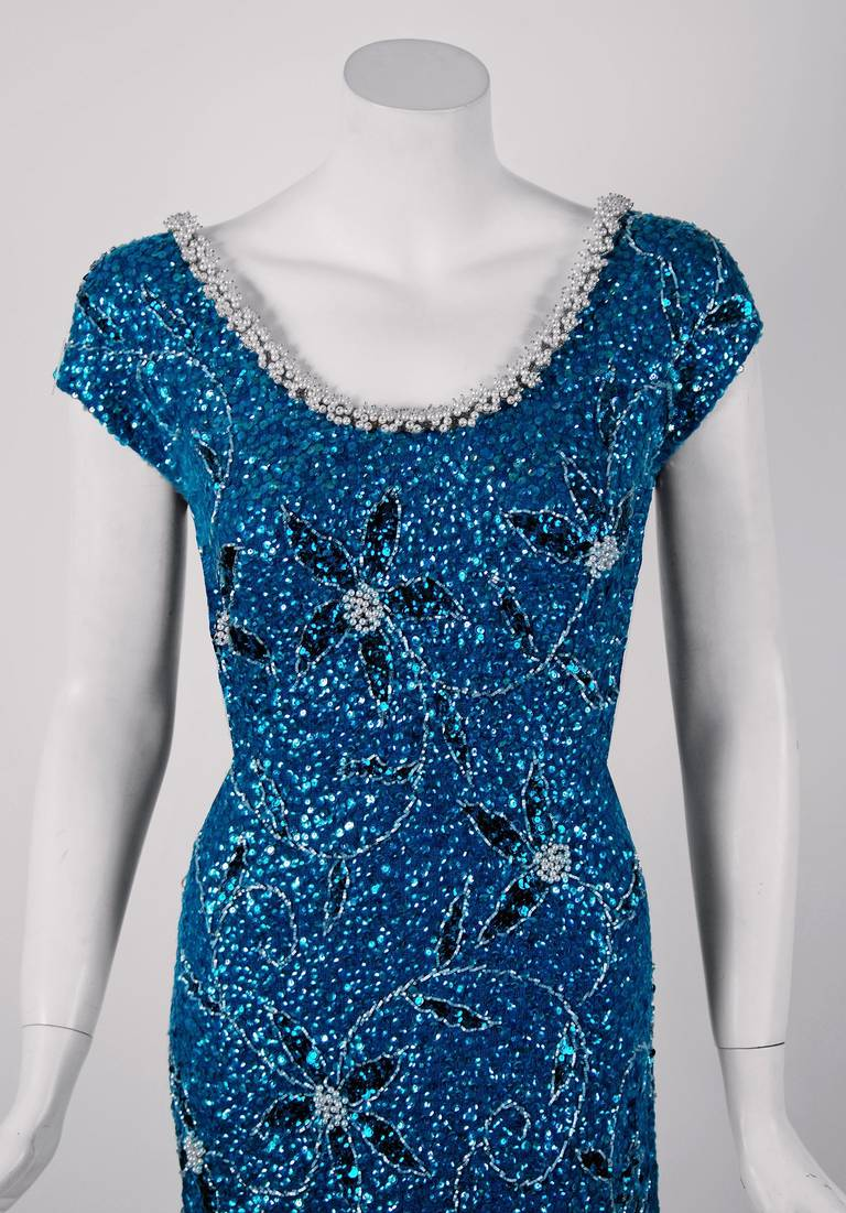 1950's Gene Shelly Beaded Sequin Royal-Blue Wool Knit Hourglass Evening Gown 3