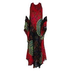 1974 Lanvin Couture Colorful Abstract-Floral Print Silk Goddess Gown & Shawl