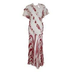 1970 Ossie Clark Burgundy & Ivory Silk Chiffon Sculpted Bias-Cut Pleated Dress