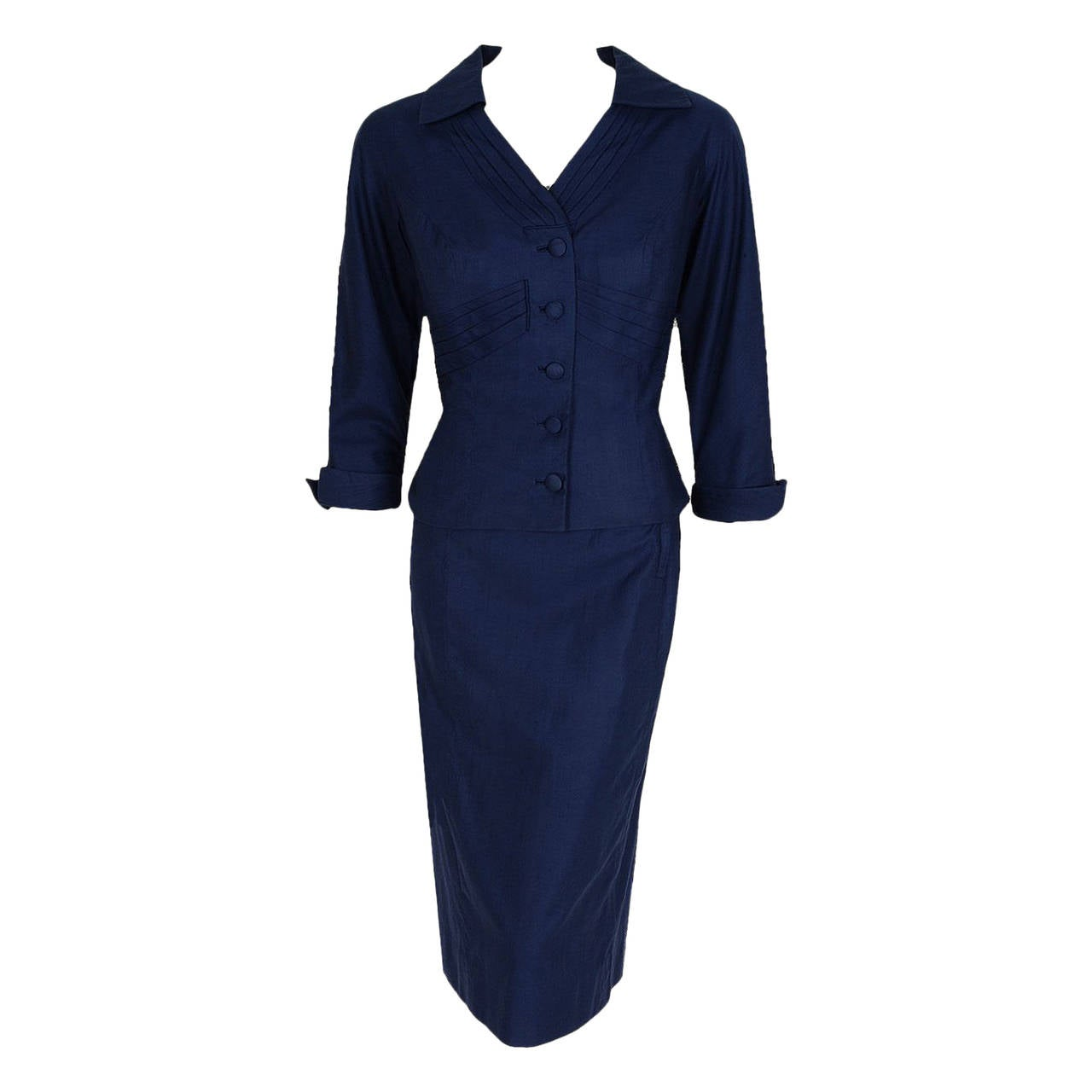 1940's Don Loper Navy-Blue Silk Tailored Hourglass Noir Pencil-Skirt Suit 1