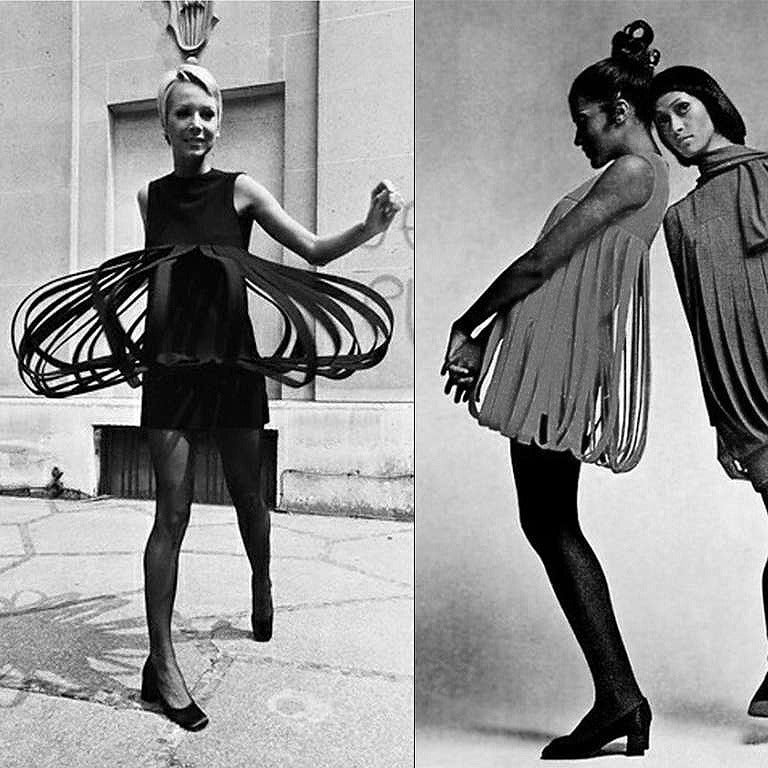 Spectacular 1967 Pierre Cardin documented carwash dress in a rich fully-lined black wool-crepe. In 1951 Cardin opened his own couture house and by 1957, he started a ready-to-wear line; a bold move for a French couturier at the time. The look most