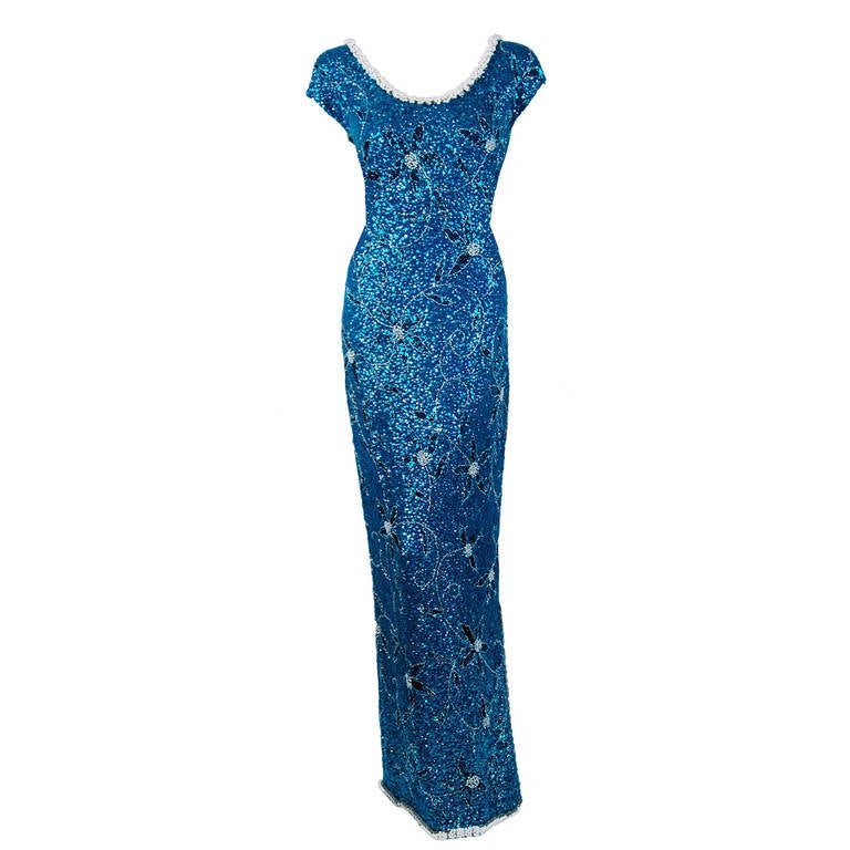 1950's Gene Shelly Beaded Sequin Royal-Blue Wool Knit Hourglass Evening Gown 1