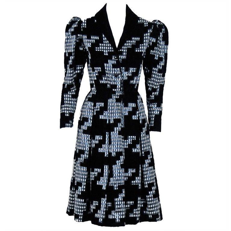 1978 Givenchy Haute-Couture Silk & Velvet Gingham-Print Princess Coat Dress