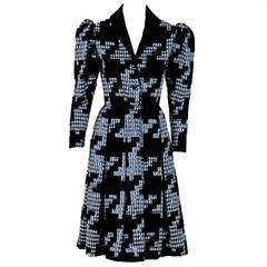 1978 Givenchy Haute-Couture Silk & Velvet Gingham Print Princess Coat Dress