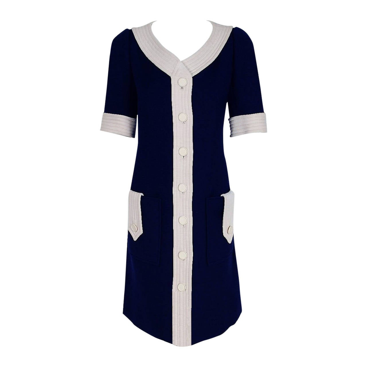 1967 Courreges Couture Navy-Blue & White Wool Block-Color Mod Space-Age Dress 1