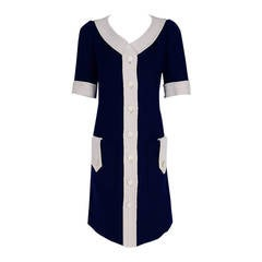 1967 Courreges Couture Navy-Blue & White Wool Block-Color Mod Space-Age Dress