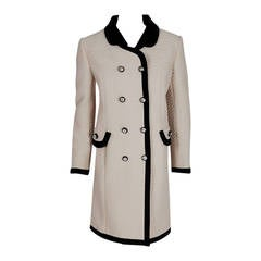 1960's Italian Couture Ivory & Black Waffle Silk-Pique Mod Double-Breasted Coat