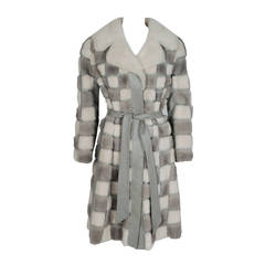 1960's Luxurious White & Grey Checkered Patchwork Mink-Fur Leather Belted Coat