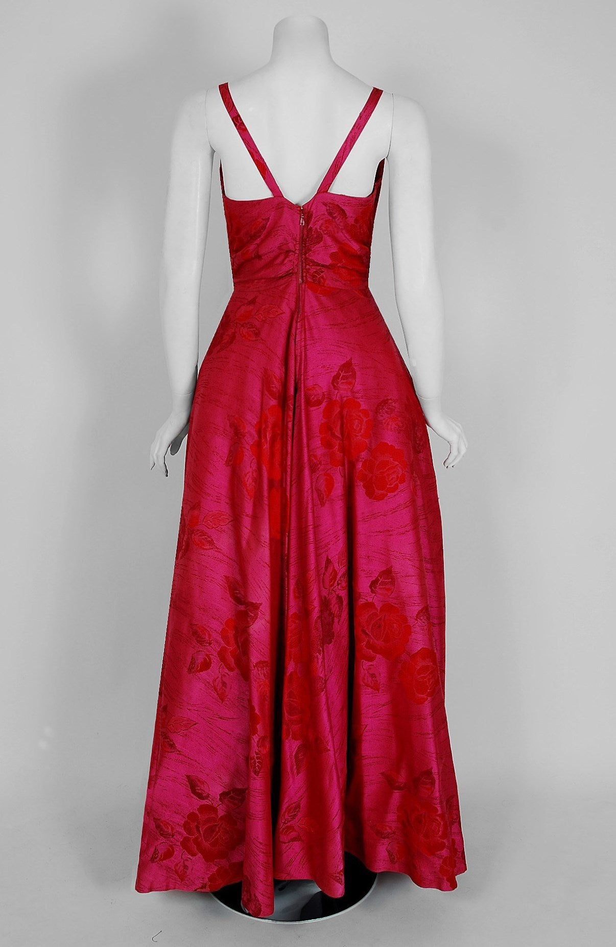 1940's Magenta Rose-Garden Floral Print Silk Couture Draped Evening Gown 6