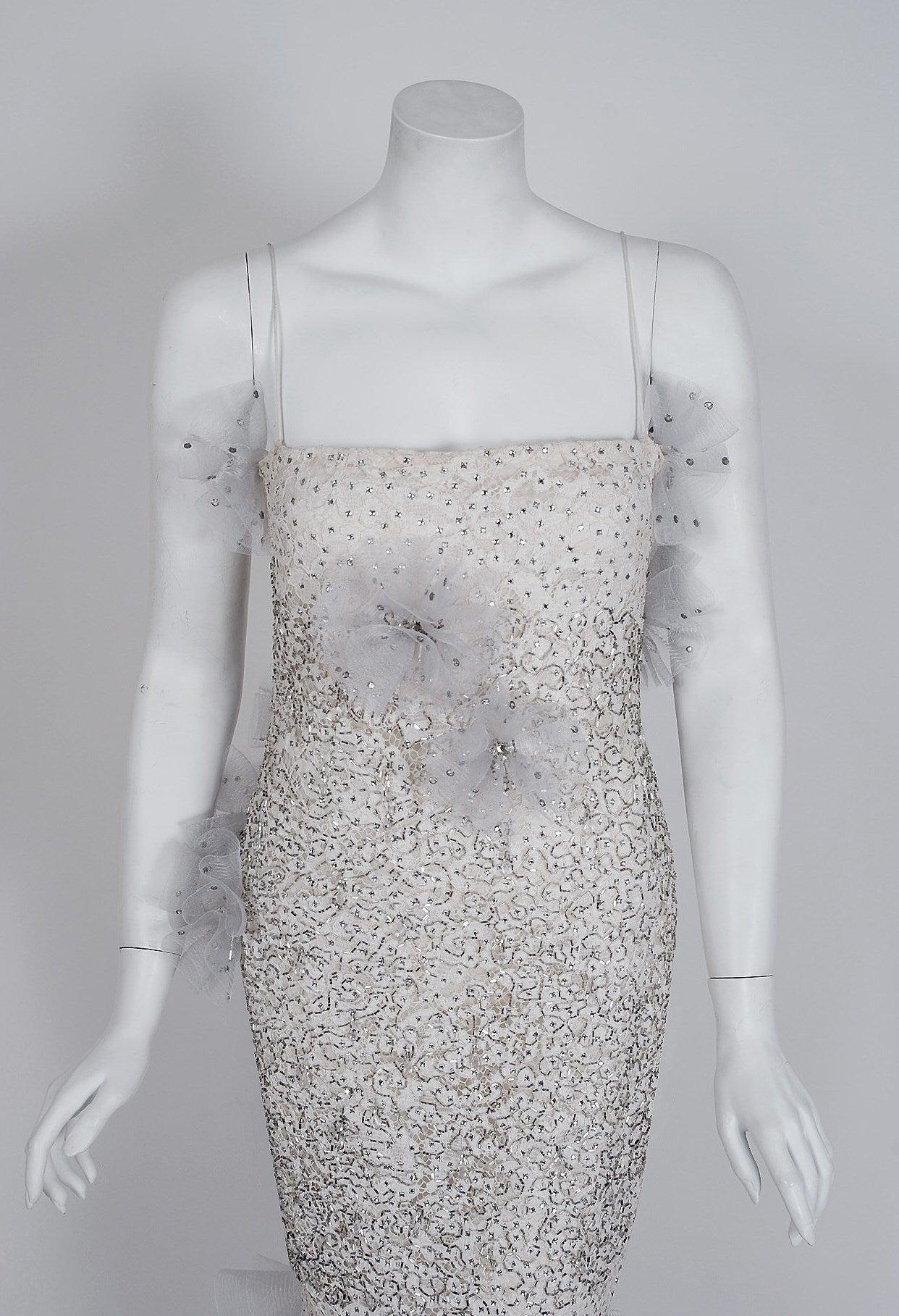 Gray 1955 Nina Ricci Paris Haute-Couture White Rhinestone Lace Silk Mermaid Gown For Sale