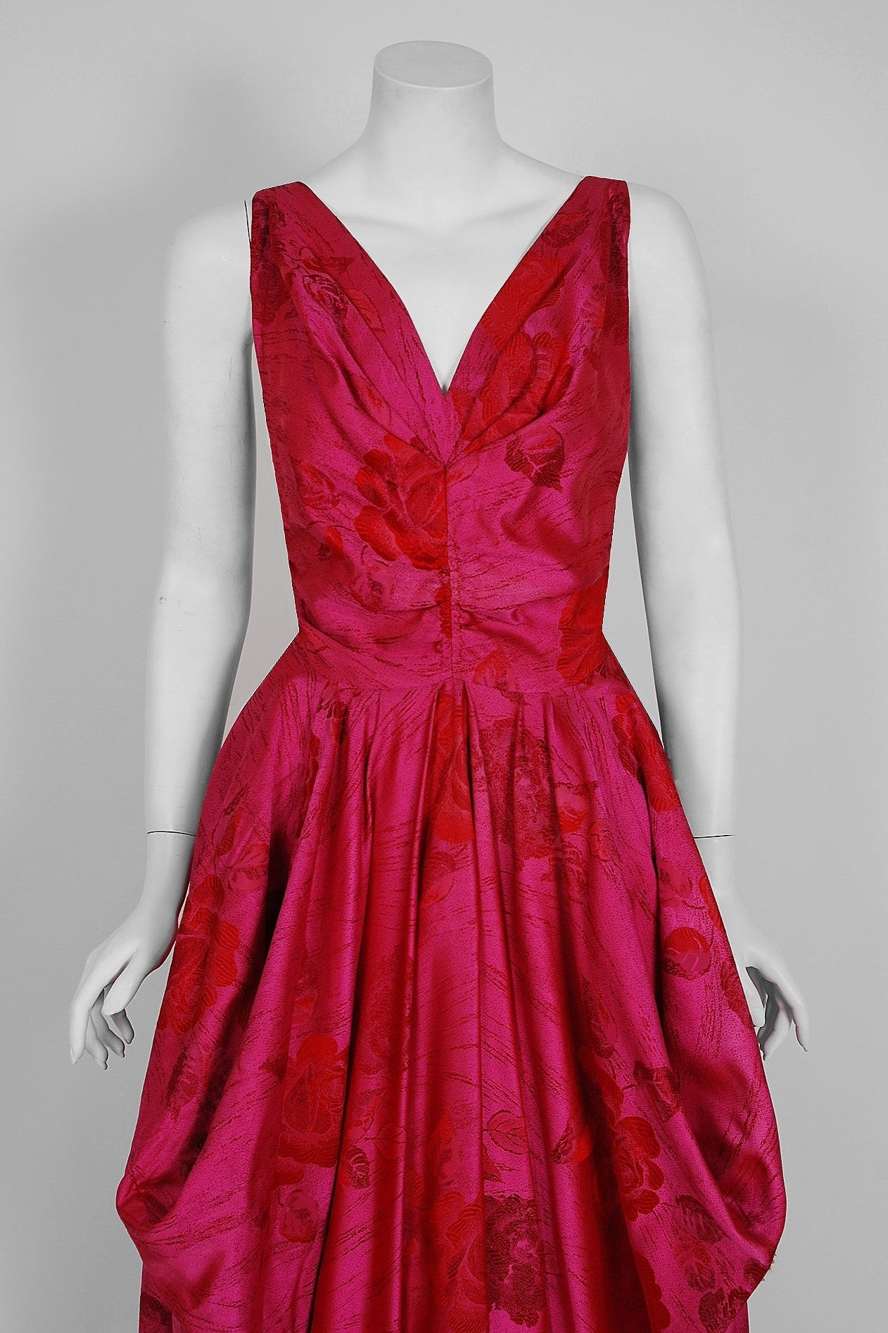1940's Magenta Rose-Garden Floral Print Silk Couture Draped Evening Gown 3