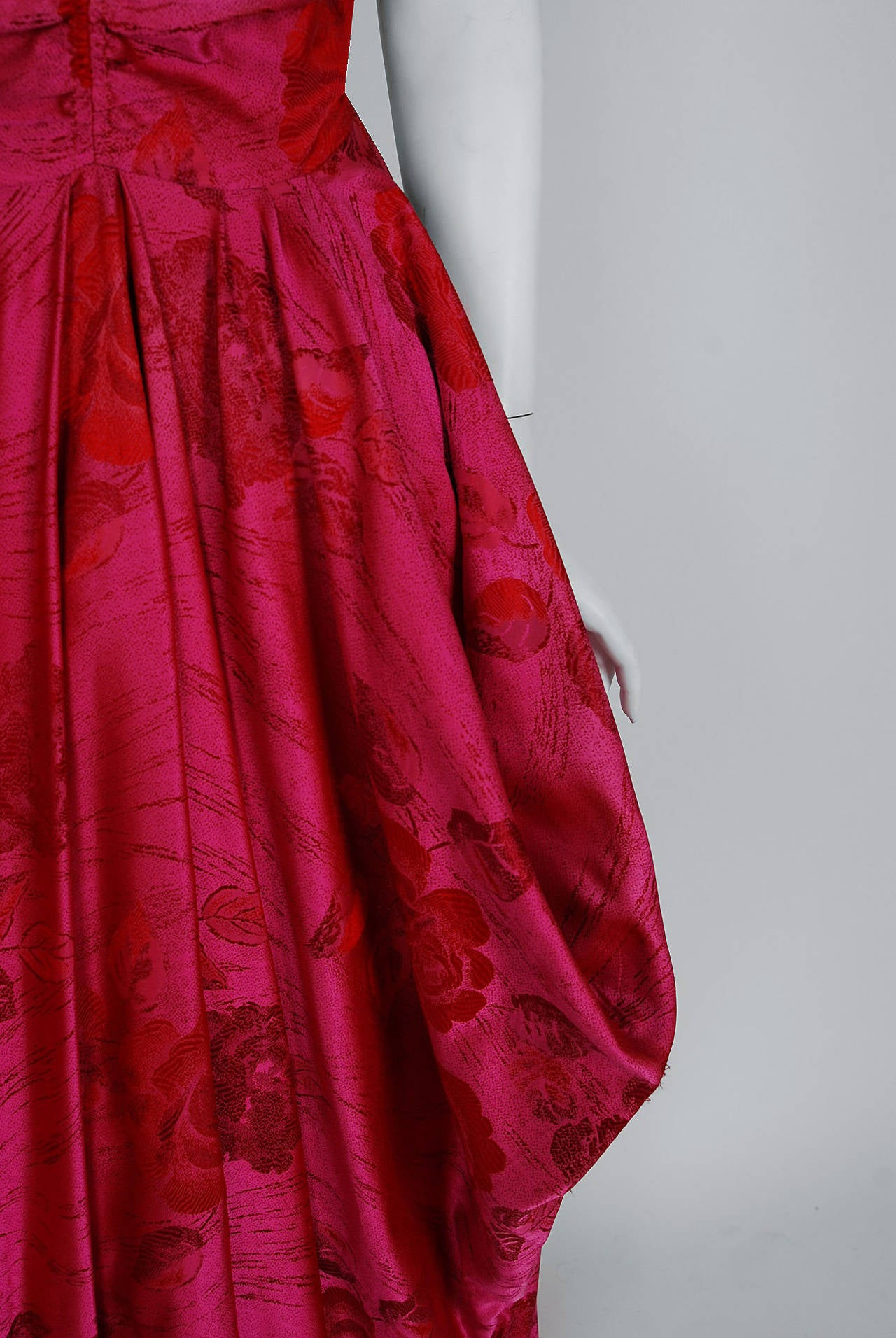 1940's Magenta Rose-Garden Floral Print Silk Couture Draped Evening Gown 5