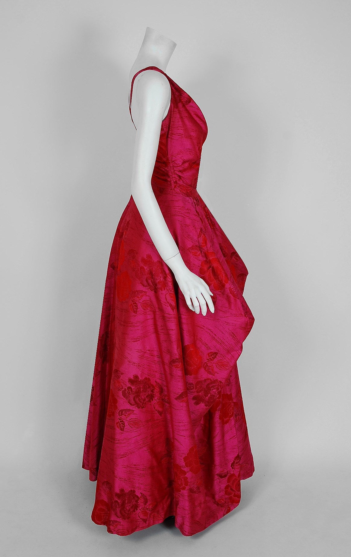 1940's Magenta Rose-Garden Floral Print Silk Couture Draped Evening Gown 2