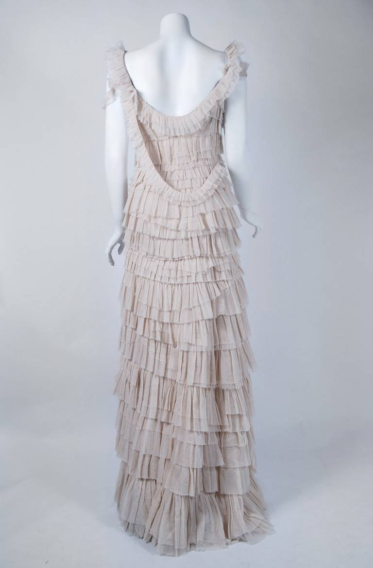 2004 lanvin ivory tulle tiered ruffle hourglass trained for Tiered ruffle wedding dress