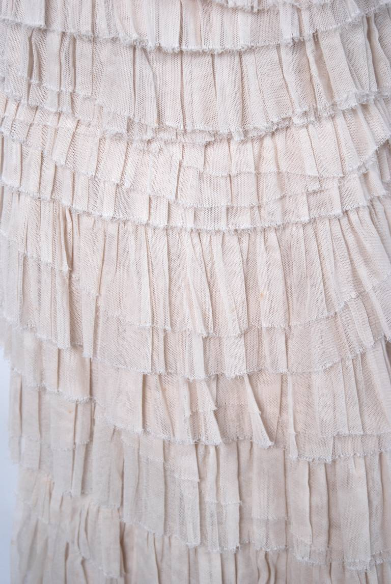 Women's 2004 Lanvin Ivory Tulle Tiered-Ruffle Hourglass Trained Evening Wedding Gown For Sale
