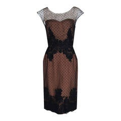 1950's Peggy Hunt Sheer Nude-Illusion Black Applique Lace Cocktail Party Dress