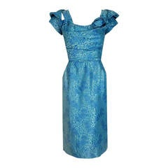 1950's Peggy Hunt Turquoise Floral Silk-Brocade Ruched Hourglass Cocktail Dress