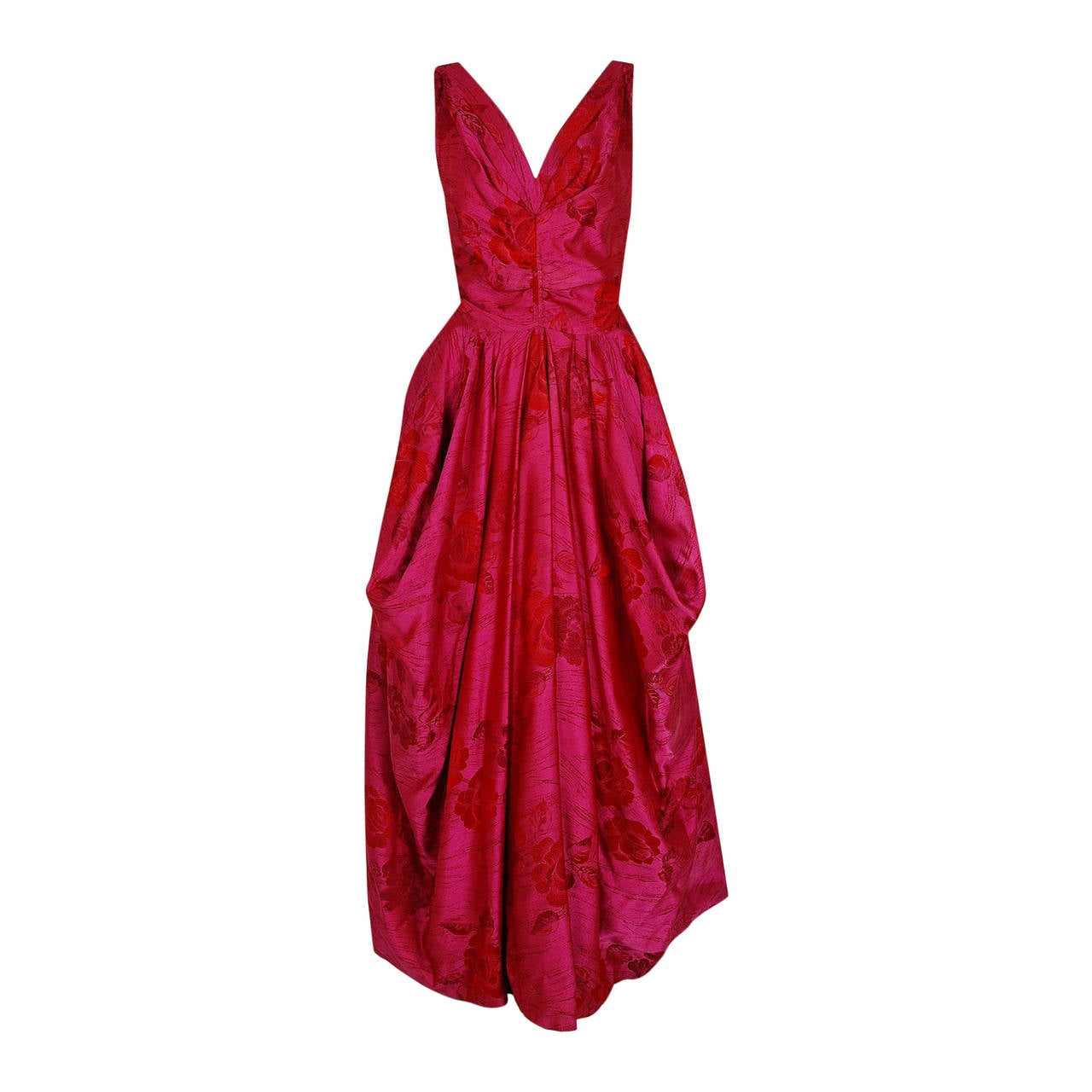 1940's Magenta Rose-Garden Floral Print Silk Couture Draped Evening Gown 1