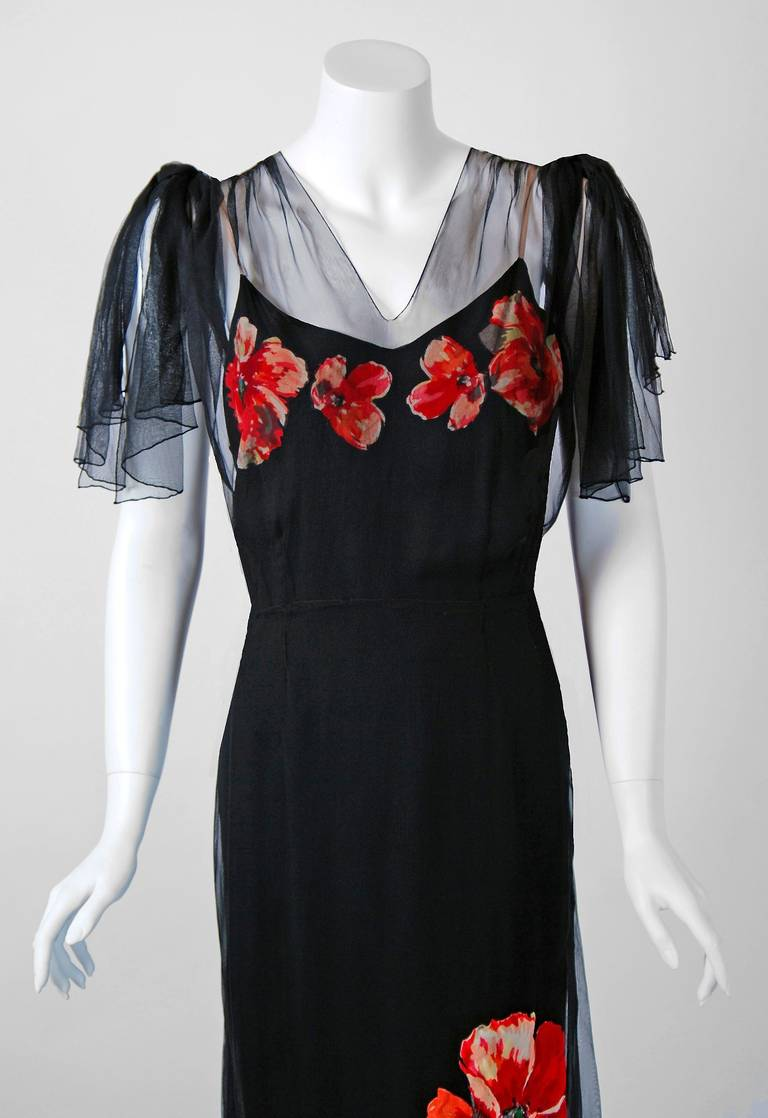 1930 S Red Poppies Floral Applique Silk Tulle Illusion
