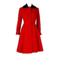 1940's Ruby-Red Wool & Persian Lamb Princess Fur Swing Dress Coat