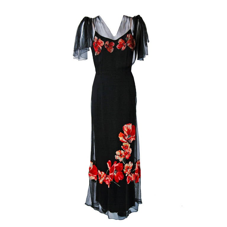 1930's Red-Poppies Floral Applique Silk Tulle Illusion Flutter-Sleeve Deco Gown For Sale
